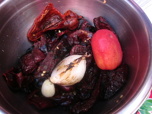 roasted ingredients colored mole