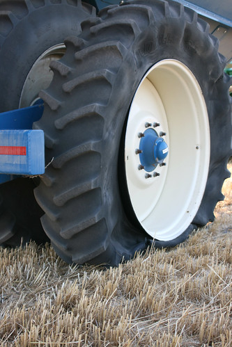 A blow out on our grain cart results from high heat and too much tire pressure