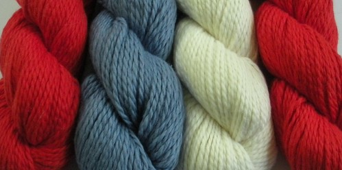 Blue Sky Alpaca Worsted Cotton Red, Blue and Cream