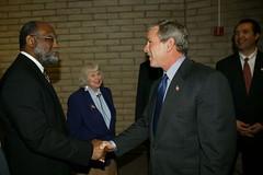 Chancellor Rufus Glasper and President George W. Bush