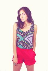 neck, textile, magenta, clothing, purple, violet, sleeveless shirt, maroon, photo shoot, pink,