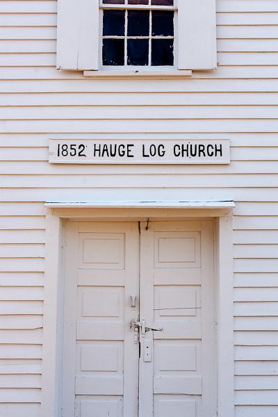 Hauge Log Church - Exterior and Door