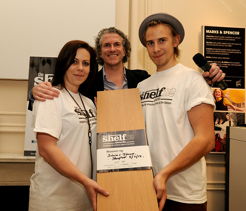 The Shelf Awards 2012 runners-up Simon Jensen and Joanne Scaife receive their Shelf from founder Gary Sharpen