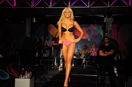 blond in lingerie on a runway by -nickon-