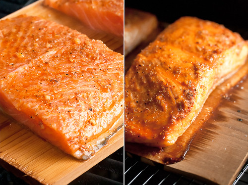 Planked Salmon, Before and After