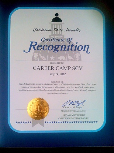 California State Assembly Certificate of Recognition
