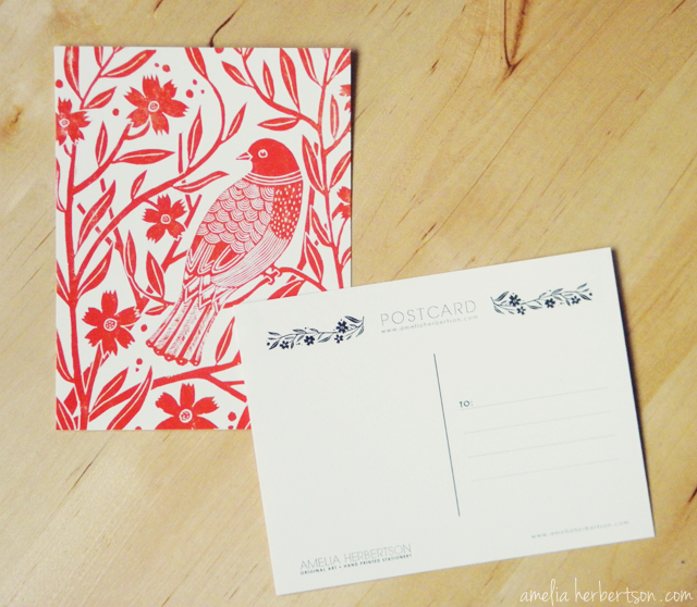 Postcard featuring my Red Bird linocut