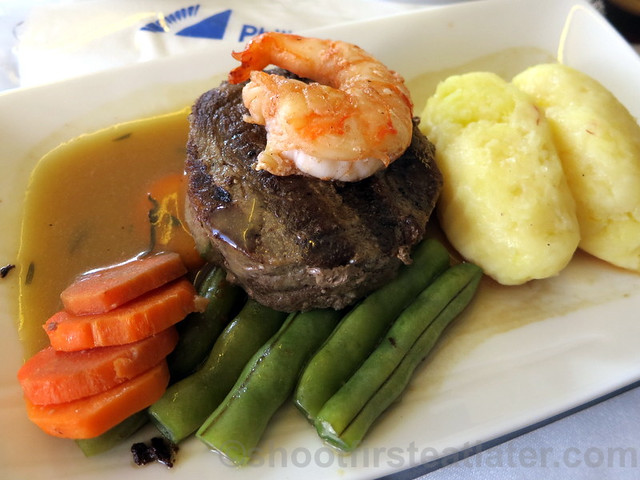 Philippine Airlines Business Class meal Mnl-Hkg-Mnl- beef tenderloin & prawn w: truffle bernaice sauce & cheddar croquette-001