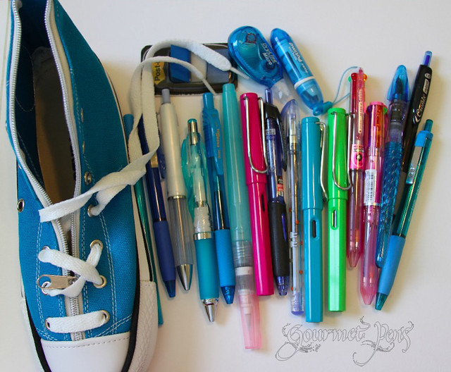 Converse Shoe Pencil Pouch with Pens