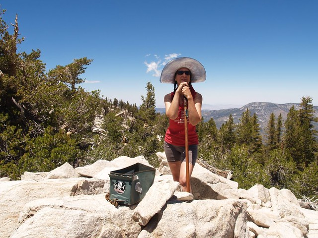 Vicki on the summit of Little Charlton Peak with Sugarloaf Mountain in the background
