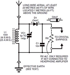 How to make a batteryless (crystal set) radio | BuildCircuit ... on simple fm transmitter schematics, simple breadboard schematics, simple oscilloscope schematics,