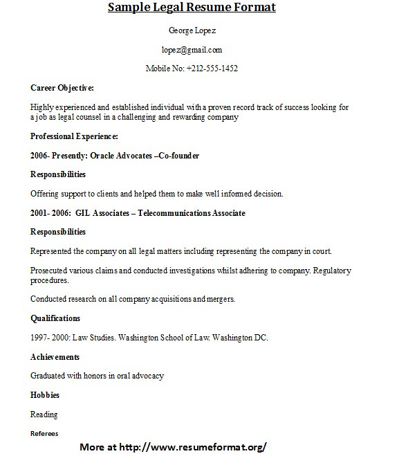 Sample Legal Resume Format For More Sample Legal Resume Fo
