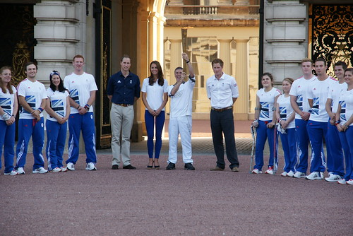 The Olympic Flame arrives at Buckingham Palace