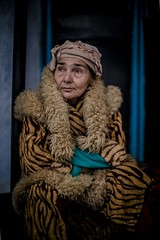 Woman with a tiger coat