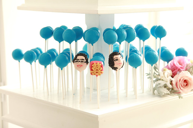 Bride, Groom, and Double Happiness Cake Pops