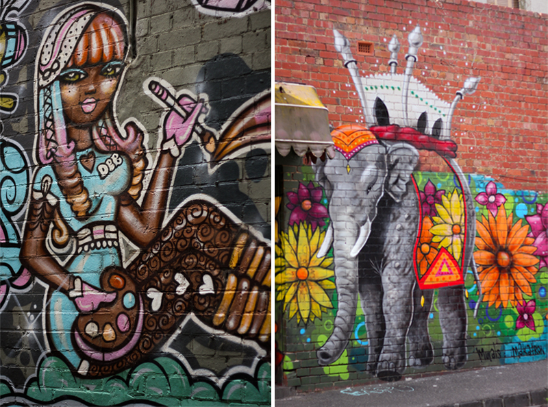 Girl and Elephant graffiti