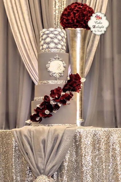 Wedding Cake Grey on Red and Silver by Cake Delight by Farah