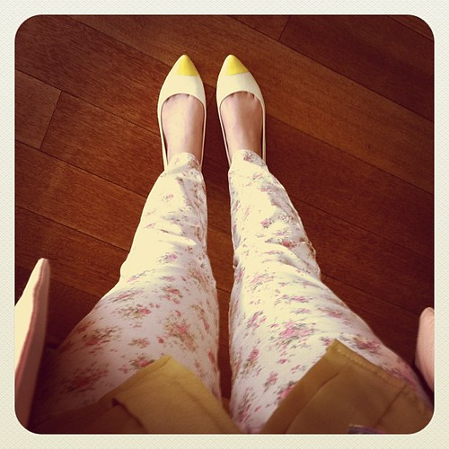 todays outfit. floral jeans & yellow tipped flats