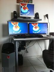 desktop computer, furniture, multimedia, display device,
