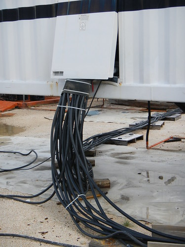 Detail of electric cables coming from diesel generator