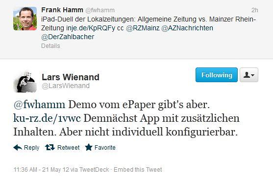 Mainzer Rhein-Zeitung: Doch mit E-Paper (via Twitter)