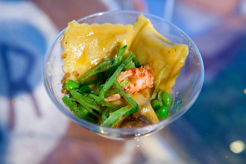 Bar Boulud: Mangalista pork agnolotti, Louisiana crawfish, fava beans, mushrooms, spring peas
