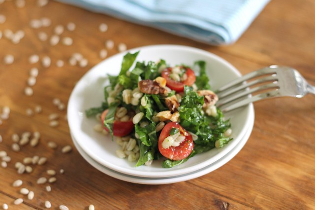 Barley salad with cherries and kale