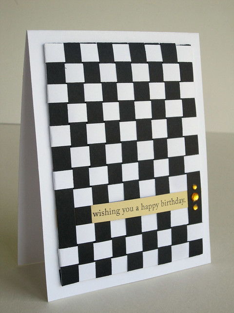 Woven Paper Black and White Checked Birthday Card