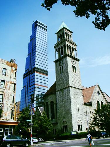 church & skyscraper