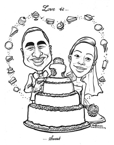 Love is Sweet - wedding couple caricatures
