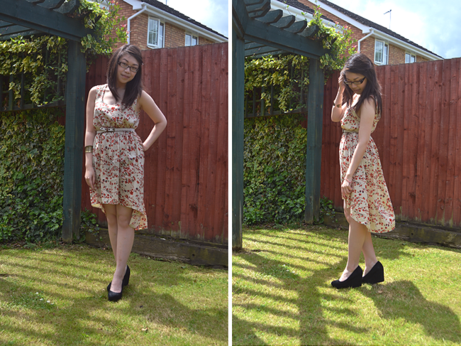 daisybutter - UK Style and Fashion Blog: what i wore, wiwt, ootd, boohoo, dipped hem dress, SS12