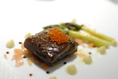 SALMON POACHED IN A LIQUORICE GEL Asparagus, Vanilla Mayonnaise and Golden Trout Roe