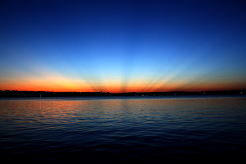 sunset lake indiana cedar sunrays