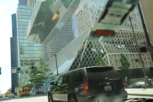 Downtown library, driveby, Chevy truck, school bus, skyscrapers, street, contemporary architecture, Seattle, Washington, USA by Wonderlane