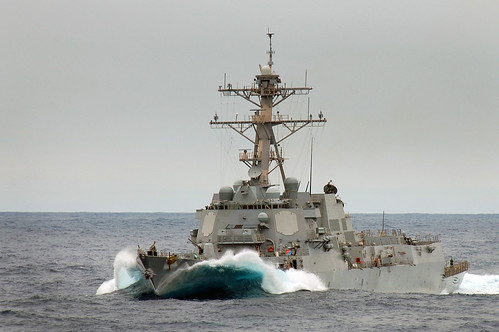 USS Jason Dunham (DDG 109) cuts through waves.