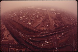 Gulf And Arco Plants. Schuykill Expressway And Penrose Avenue, August 1973