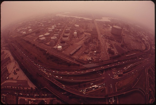DOCUMERICA: Gulf And Arco Plants. Schuykill Expressway And Penrose Avenue, August 1973 by Dick Swanson.