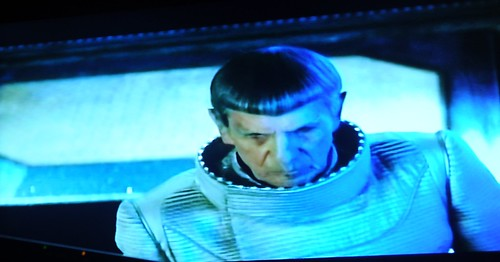 Spock in space suit, trying unsuccessfully to save planet Romulus, Alpha Quadrant, fiction, Star Trek film 2009, on TV, Seattle, Washington, USA by Wonderlane