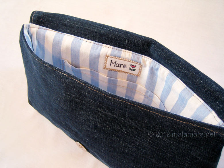 upcycled blue jeans clutch bag with hand embroidered anchor stripes