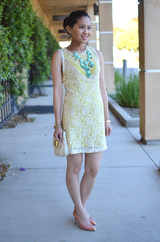 Forever 21 neon yellow with white lace sheath dress