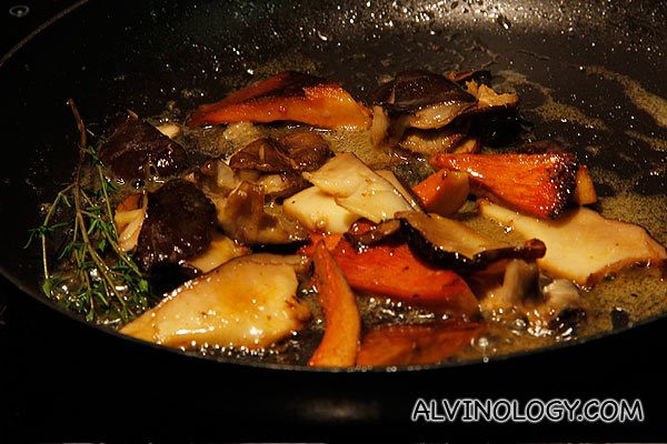 Cooking the wild mushrooms
