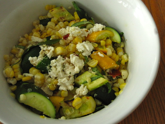 corn and zucchini salad with goat cheese
