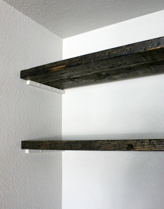 Distressed Wood Floating Shelves