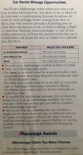 1990 American Airlines AAdvantage Guide
