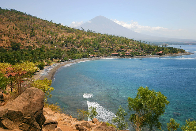 Amed beach and volcano