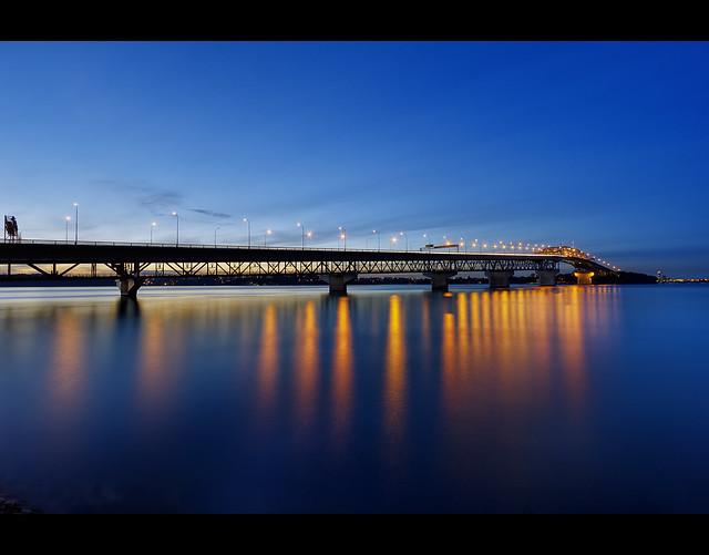 Auckland Harbor Bridge - Silhouette in Blue