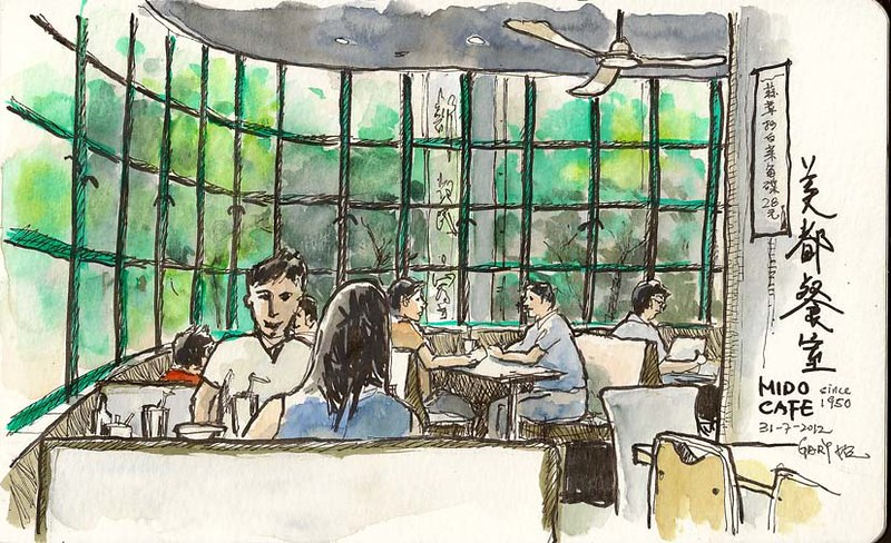 A sketch at a sixty-year-old cafe in Yau Ma Tei   紅豆冰傍畫美都