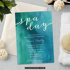 "Everytime I go to the spa I find myself thinking ""hmmm I could definitely live in here..."" I designed this card for @greenvelope #spa #relaxtime #girltime #partyinvitations #relaxation"