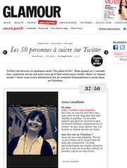 Glamour - Les 50 personnes à suivre sur Twitter