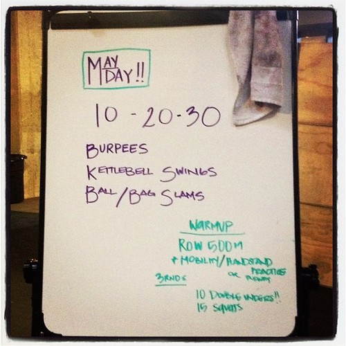 It was harder than it looks. 35lb kb and 20lb ball. My arms are still shaking. #wod